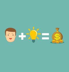 man plus good idea equal money vector image