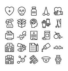 medical health and hospital line icons 10 vector image