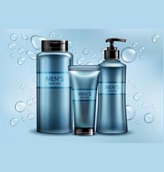 mens skincare cosmetics line realistic vector image