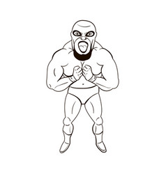 Mexican wrestler in cartoon style vector