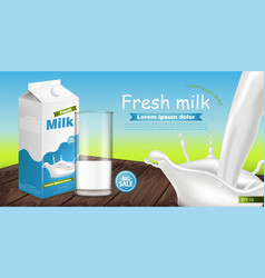 milk package realistic with splash product vector image