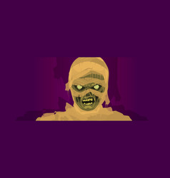 Mummy zombie halloween costume mask vector