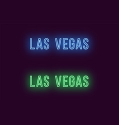 neon name of las vegas city in usa text vector image