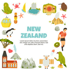 new zealand poster with symbols landmarks vector image