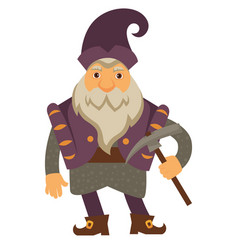 old dwarf with pickaxe gnome character with beard vector image