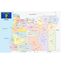 Oregon administrative and political map with flag vector