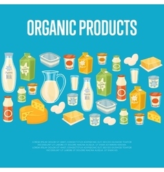 Organic products banner with dairy icons vector image