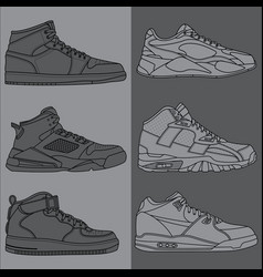 outline basketball shoes vector image