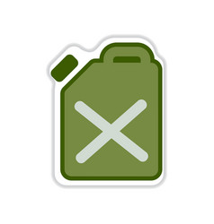 Paper sticker on the white background jerrycan vector