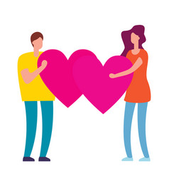 people with pink heart in hands vector image