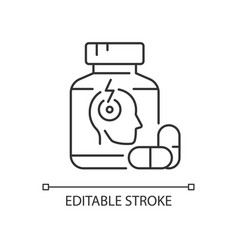 Pills for headache linear icon vector