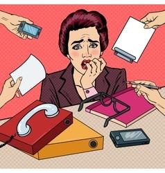 Pop art nervous business woman biting her fingers vector