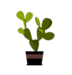 prickly pear cactus in pot traditional mexican vector image