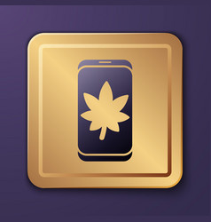 Purple leaf on mobile phone screen icon isolated vector