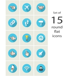 round flat icons vector image