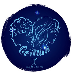Round zodiac sign gemini vector