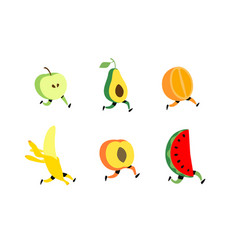 Running fruit fruit cocktail characters healthy vector