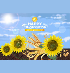 sale poster with sunflowers realistic 3d vector image
