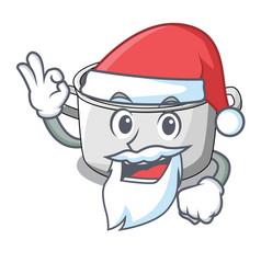 Santa cartoon homemade stew soup in the pot vector