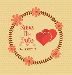 save the date wreath floral hearts lovely vector image