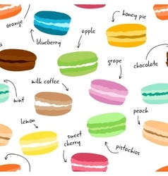 Seamless pattern wirh hand drawn macaroons Food vector