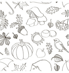 set of autumn symbols pattern vector image