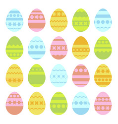 Set of colored isolated easter eggs on a white vector