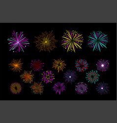 set of multi-colored holiday fireworks vector image