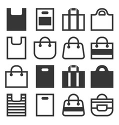 shopping bag icons set on white background vector image