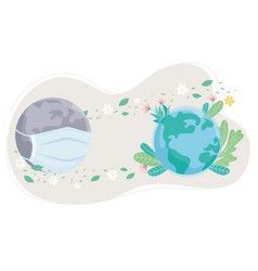 sick and healthy world with mask flowers save the vector image