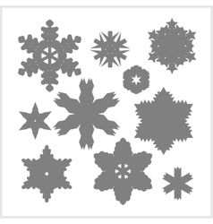 Silhouettes Snowflake set vector