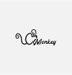 Simple monkey line side view silhouette logo vector