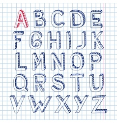 Sketch alphabet font notebook vector image vector image