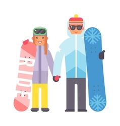 Skiing snowboard man and woman vector image