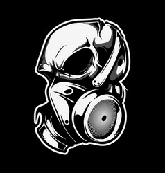 Skull wears a poison gas mask vector