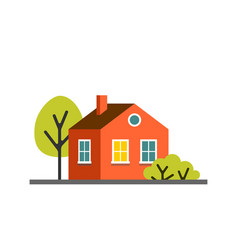 Small cartoon red orange house with trees vector