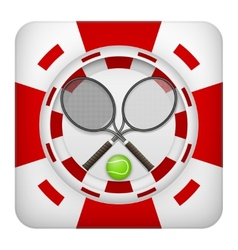 Square red casino chips of tennis sports betting vector