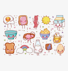 sweet breakfast kawaii cute cartoons vector image