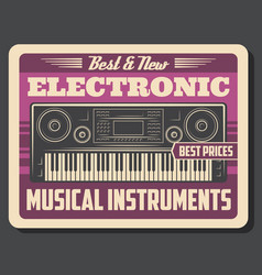 Synthesizer retro electronic musical instrument vector