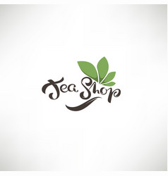 tea shop lettering composition and green leaves vector image