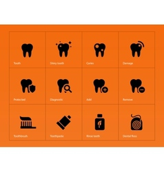 Teeth icons on orange background vector image