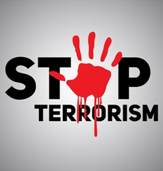 The text stop terrorism with the imprint of a vector