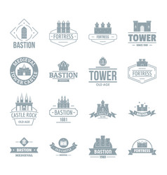 Towers castles logo icons set simple style vector