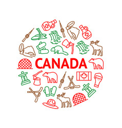 Travel canada signs thin line round design vector