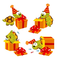 Turtle and gift vector