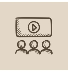 Viewers watching motion picture sketch icon vector image