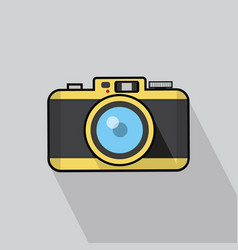 vintage camera flat design with long shadow vector image