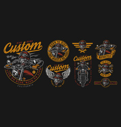 Vintage motorcycle colorful badges vector