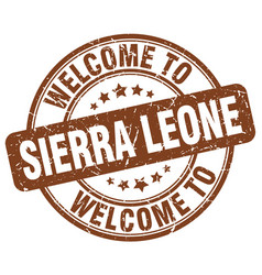 welcome to sierra leone brown round vintage stamp vector image