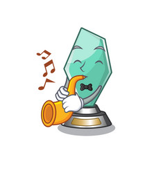 With trumpet acrylic trophy mascot on a cartoon vector